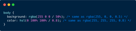 There's a space-separated syntax for values in functional color notations.