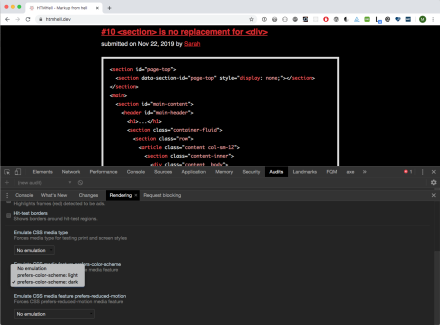 You can emulate dark mode and reduced motion in Chrome Dev Tools.