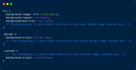 Using the background-origin property you can position background images relative to the inner border edge (default), outer border edge, or the content edge.