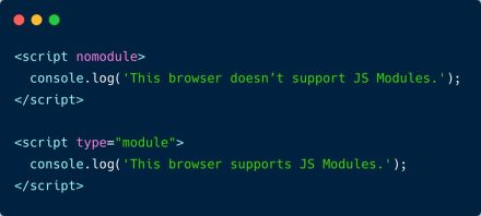 You can use the nomodule attribute to run JavaScript code only in browsers that don't support JS modules.
