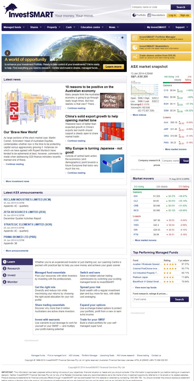 InvestSMART website in 2014