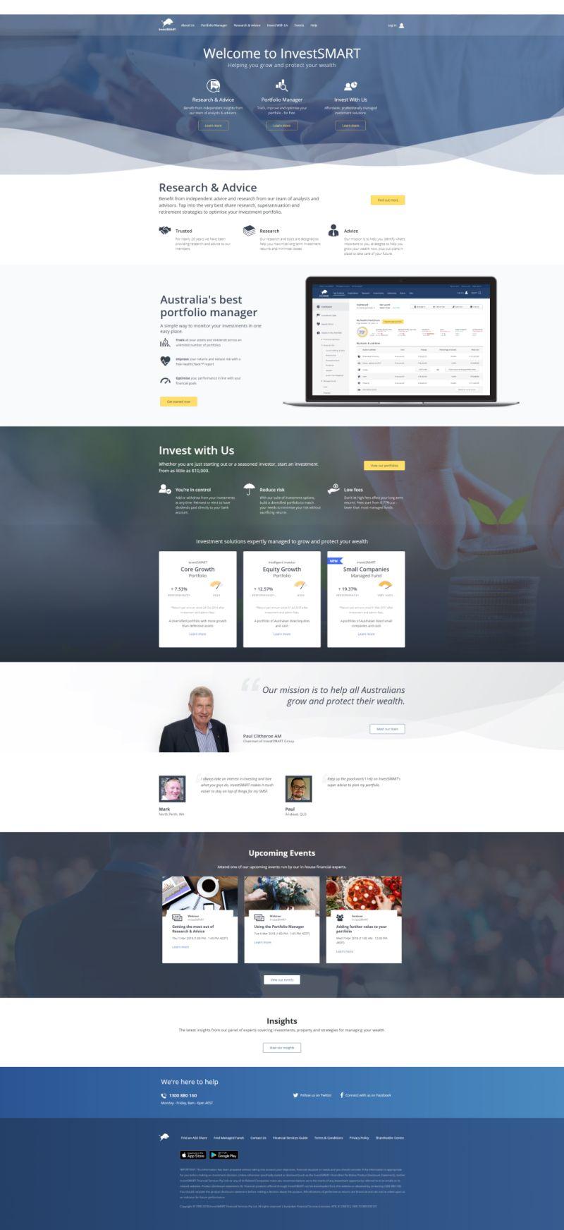 InvestSMART website in 2018