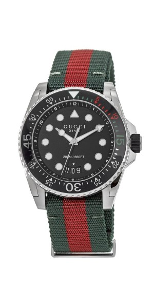 b698d84d5ed Gucci Dive Black Dial Blue and Red Nylon Men s Watch YA136210 ...