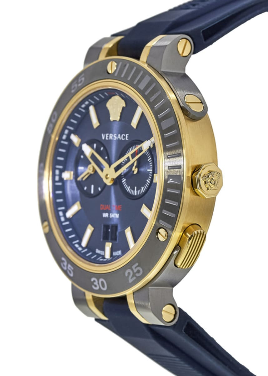 02b9a629 Versace V-Extreme Gold-Tone Blue Dial Rubber Strap Men's Watch VCN010017