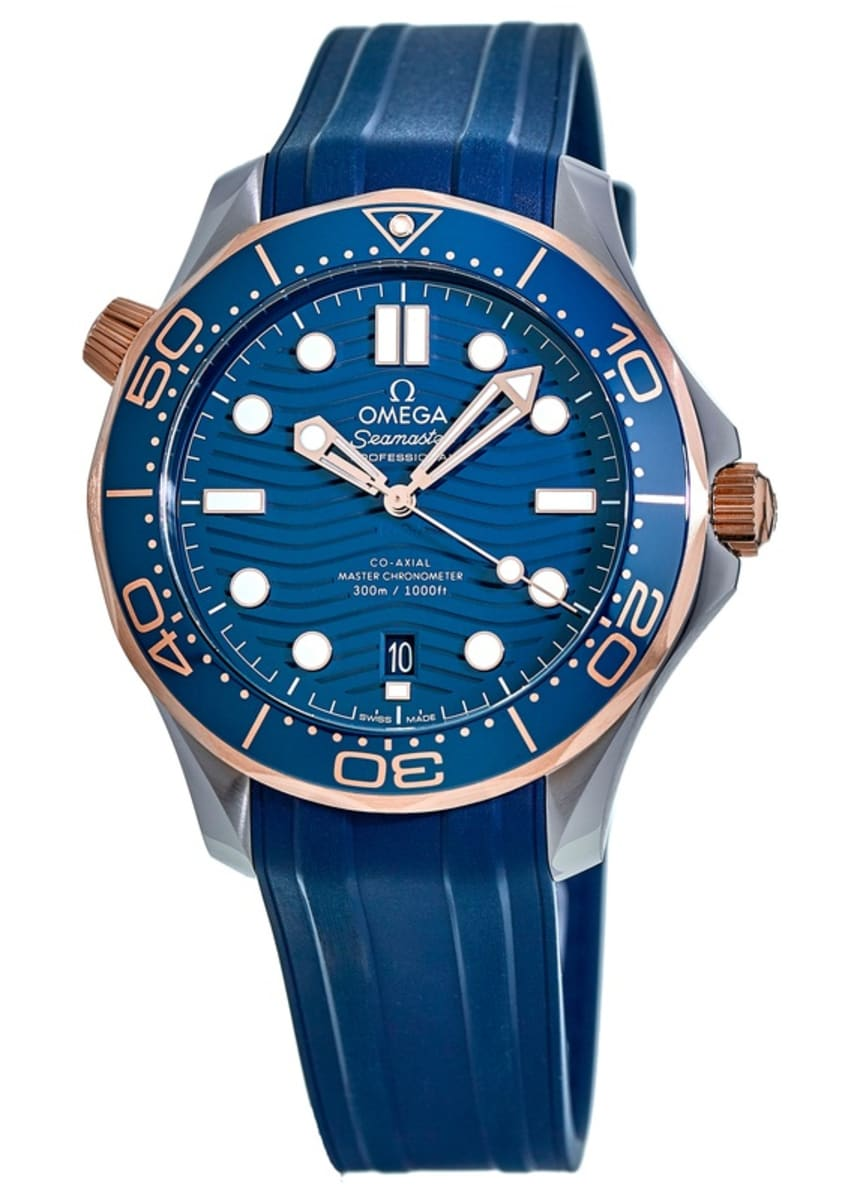 Omega Seamaster Diver 300m Co Axial Master Chronometer 42mm Blue Dial Rose Gold Men S Watch 210 22 42 20 03 002 Watchmaxx Com