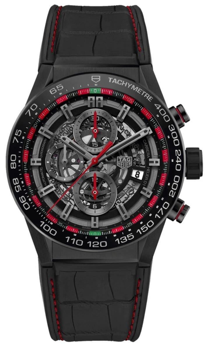 Tag Heuer Carrera Calibre Heuer 01 Limited Edition Black Skeleton Dial Pvd Rubber Leather Strap Men S Watch Car2a1g Fc6400
