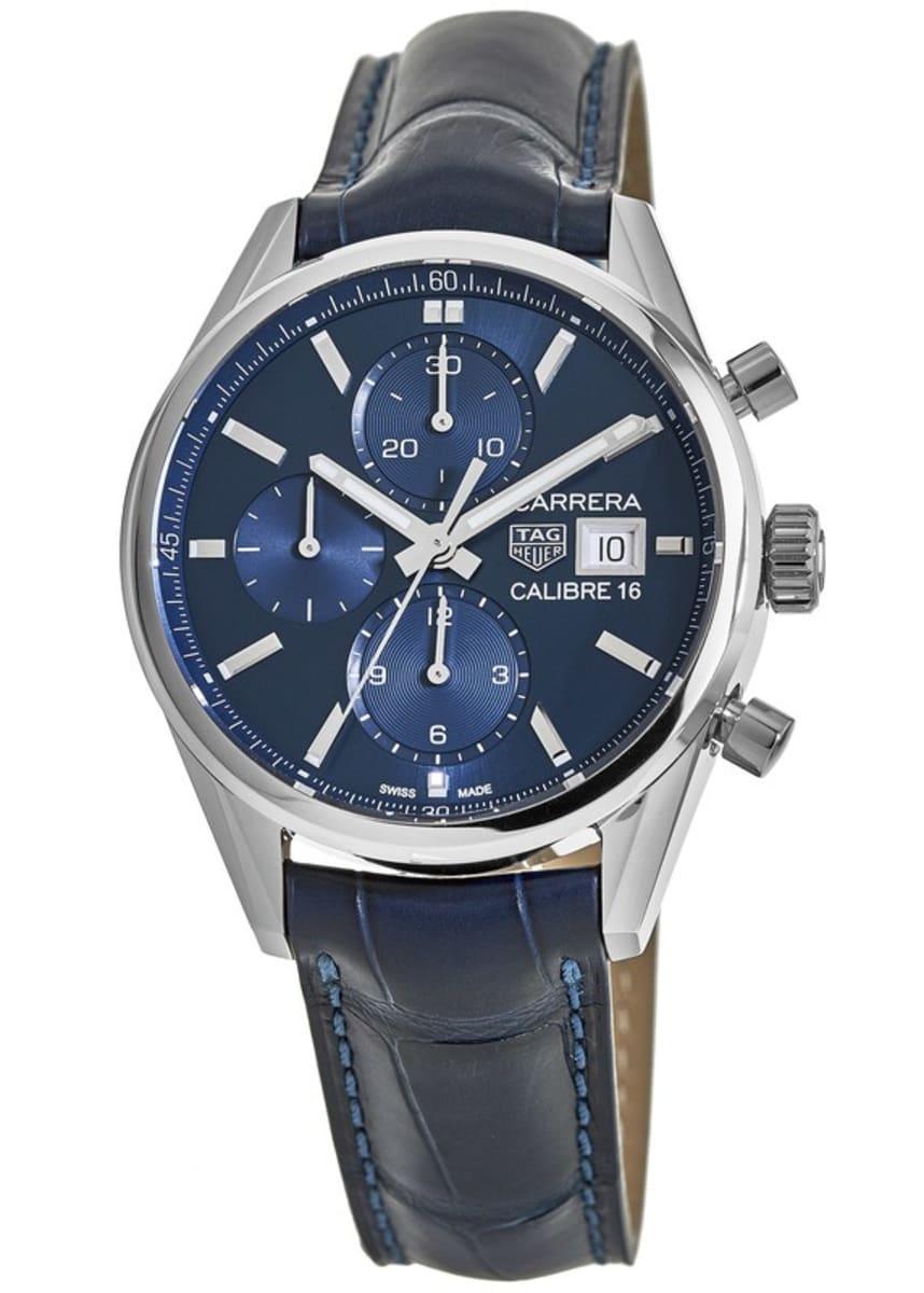 the latest 21cbe cdf85 Tag Heuer Carrera Calibre 16 Chronograph Blue Dial Leather Strap Men's  Watch CBK2112.FC6292