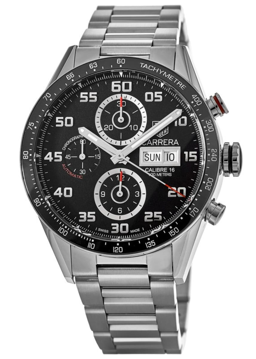 Tag Carrera Watch >> Tag Heuer Carrera Chronograph Day Date Automatic Black Dial Steel Men S Watch Cv2a1r Ba0799