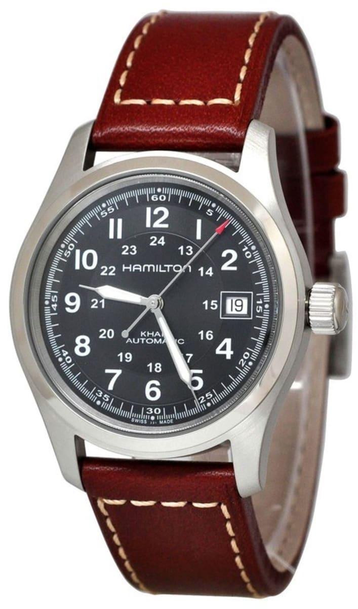 Hamilton Khaki Field Black Dial Brown Leather Strap Men S Watch H70455533