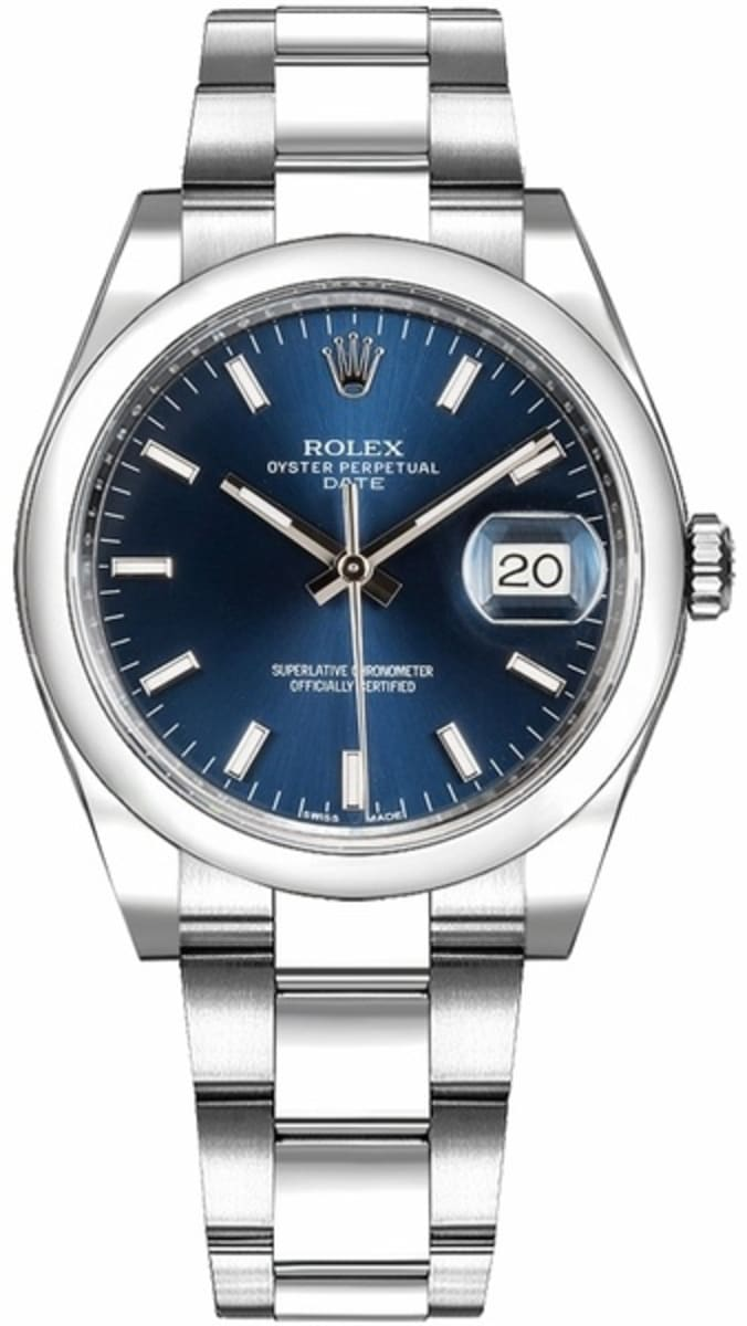 Rolex Oyster Perpetual Date Blue Dial Men\u0027s Watch M115200,0007