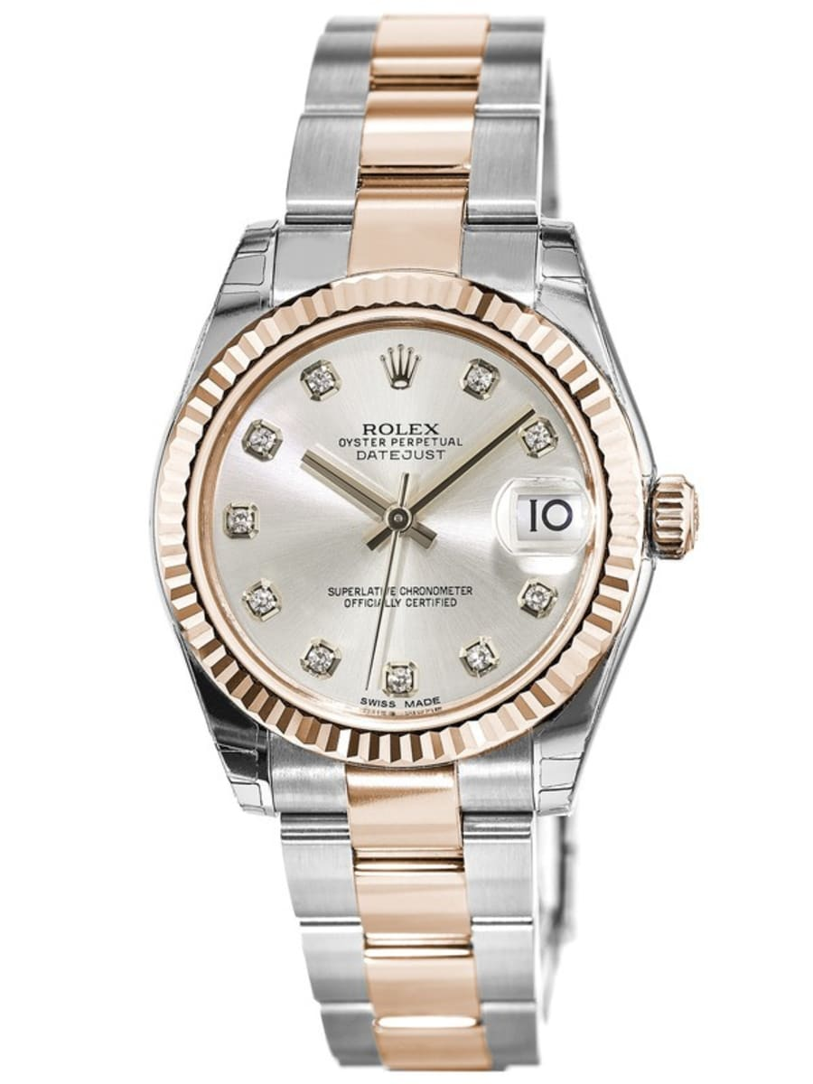 Rolex Datejust 31 Silver Diamond Dial, Steel and 18k Everose Gold Women\u0027s  Watch M178271,0046