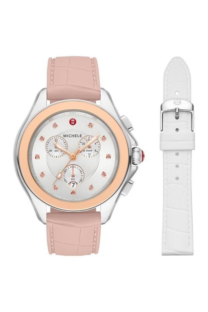 Michele Women's Cape Chronograph Silicon Strap Watch