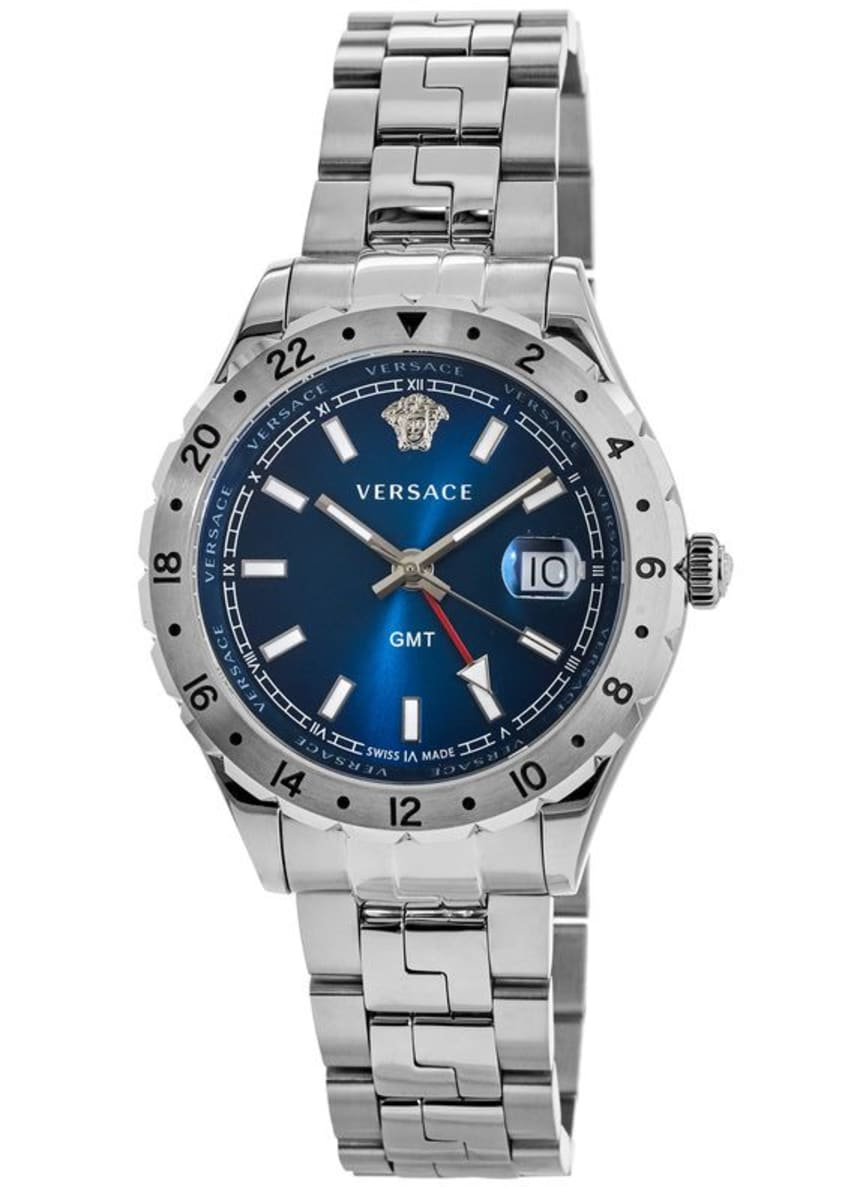 Versace Hellenyium GMT Blue Dial Stainless Steel Men's Watch V11010015