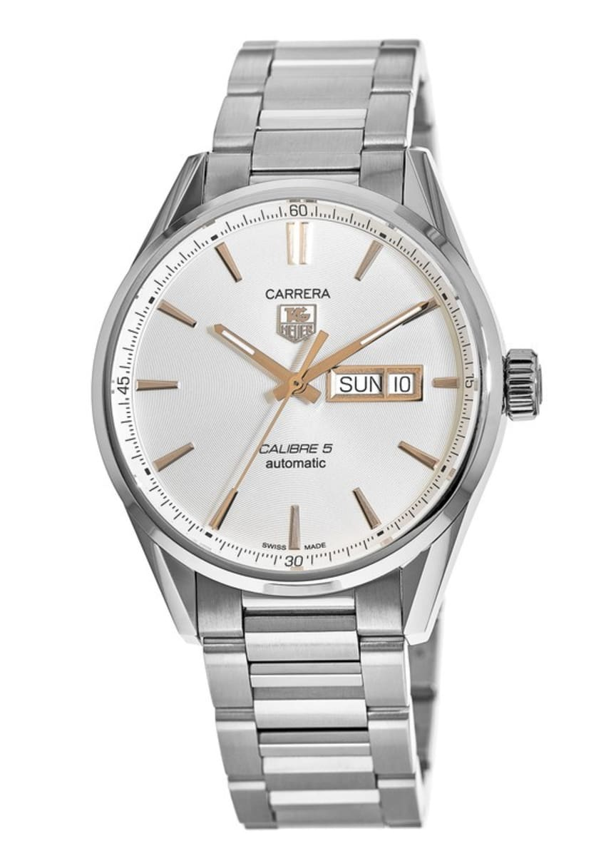 best sneakers e4582 3b6e9 Tag Heuer Carrera Calibre 5 Day-Date Automatic Silver & Gold Dial Steel  Men's Watch WAR201D.BA0723