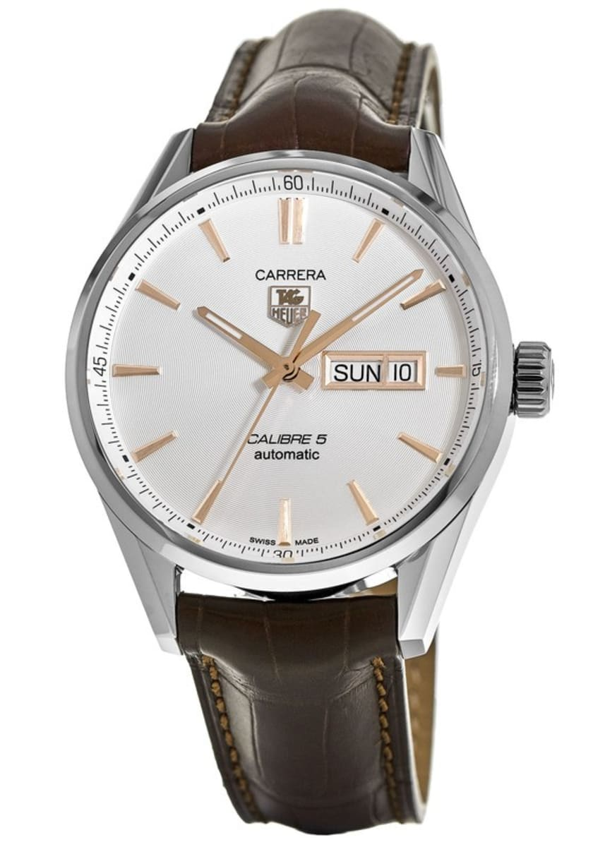 online retailer 563d5 1241f Tag Heuer Carrera Calibre 5 Day-Date Automatic Silver Dial Brown Leather  Strap Men's Watch WAR201D.FC6291
