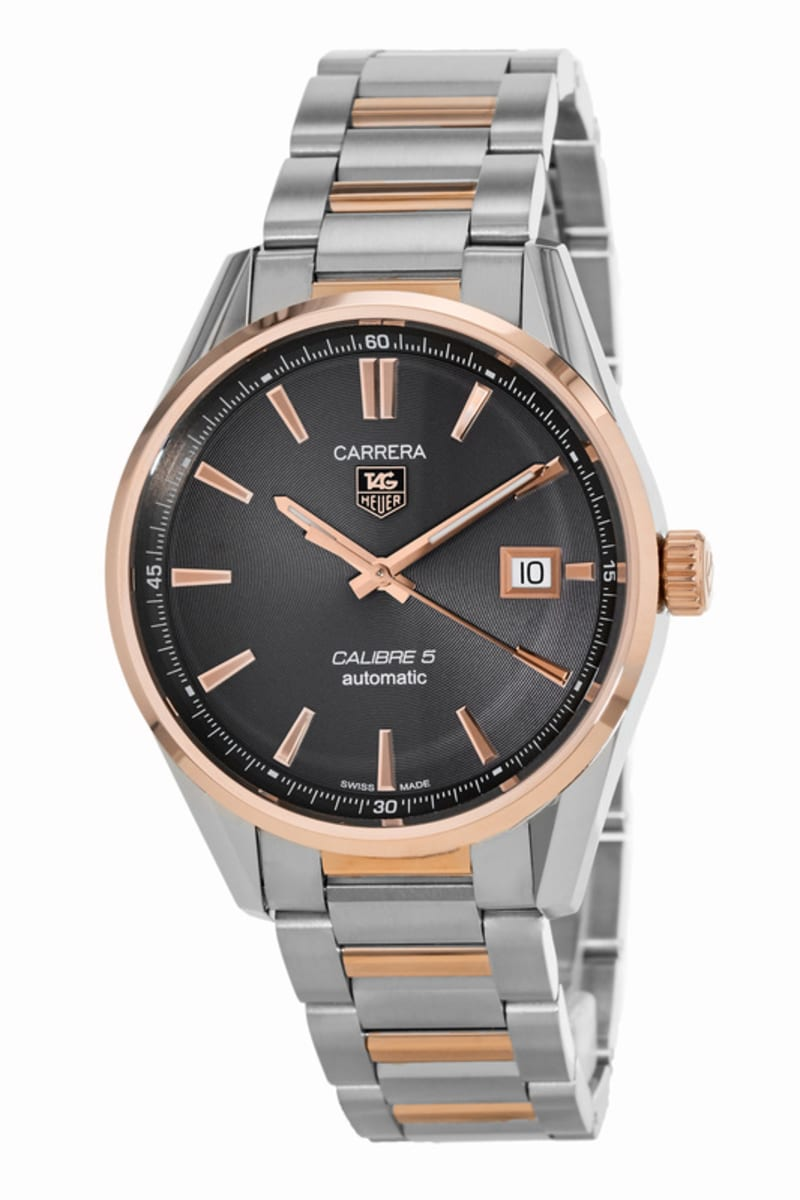 Tag Heuer Carrera Calibre 5 39mm Automatic Grey Dial Rose Gold Steel Men S Watch War215e Bd0784