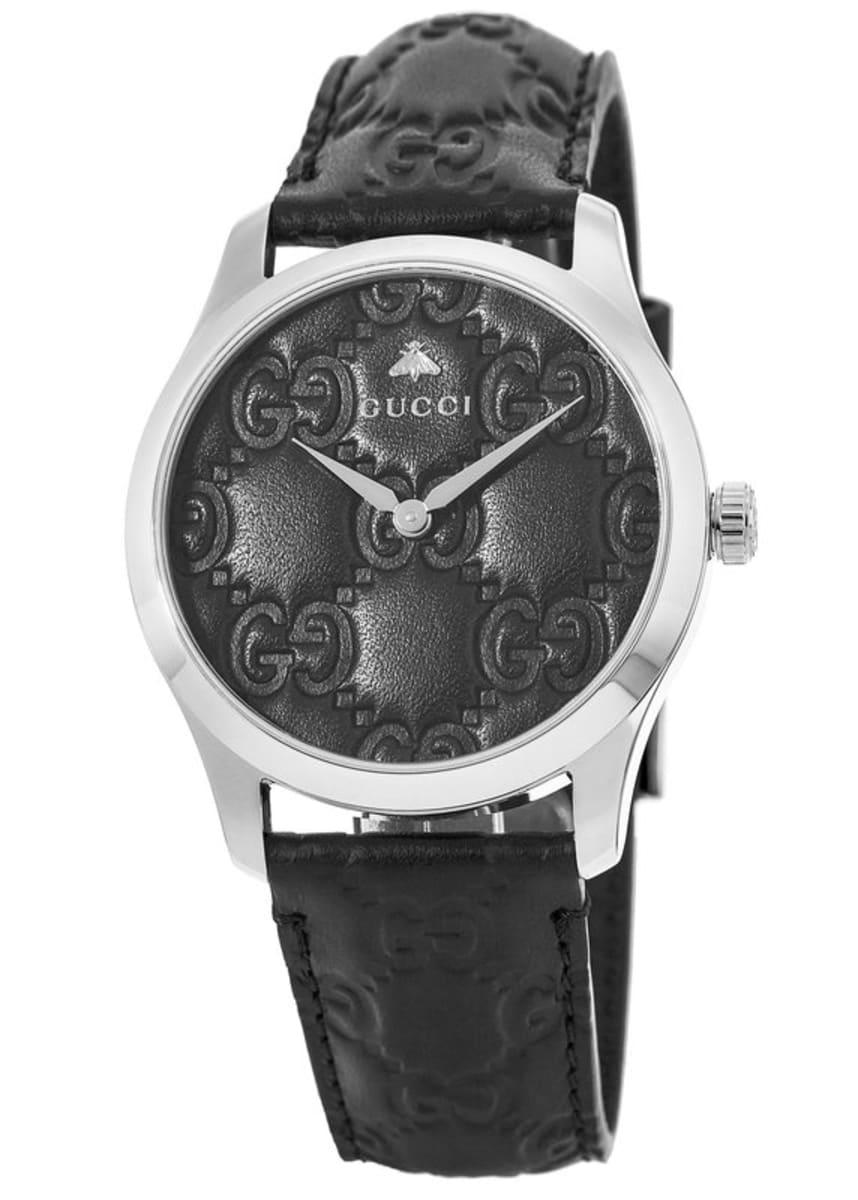 e65cb57608d4b Gucci G-Timeless Black Dial Black Leather Strap Unisex Watch YA1264031  YA1264031A