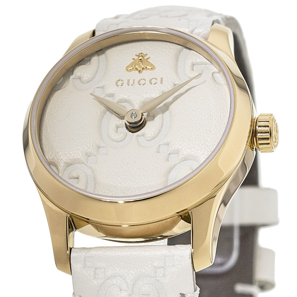 e4df01c16ca Gucci G-Timeless White Dial White Leather Strap Women s Watch ...