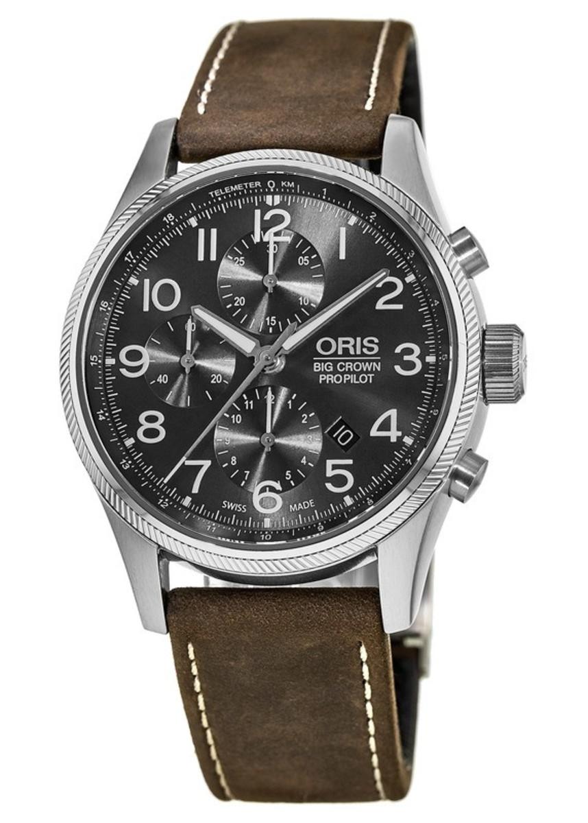 8948fef94 Oris Big Crown ProPilot Chronograph Grey Dial Brown Leather Men's ...