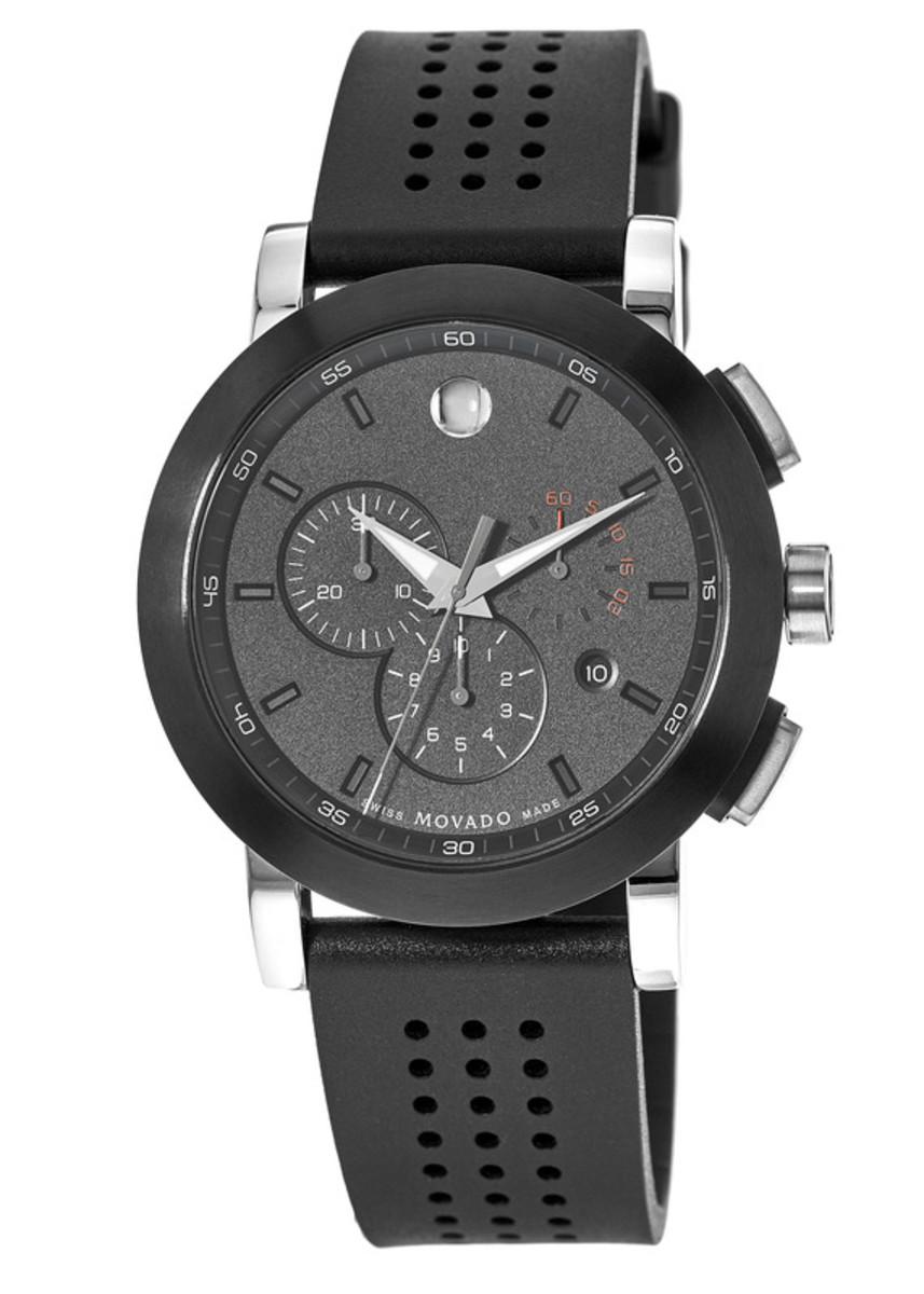 5c68c9508 Movado Museum Sport Black Chronograph Dial Rubber Strap Men's Watch ...