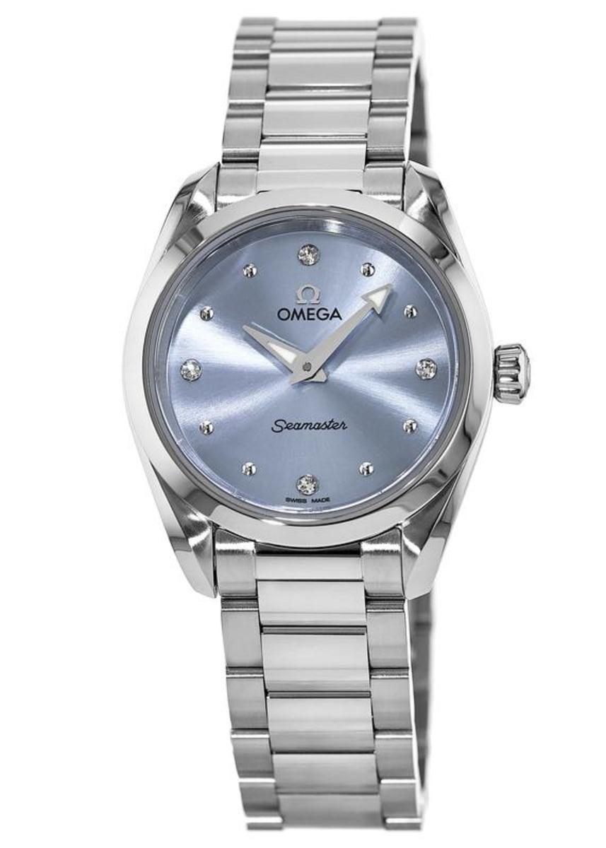 c8cf42fb4ff6 Seamaster Aqua Terra 150M Quartz 28 MM Ice Blue Diamond Dial Stainless  Steel Women's Watch