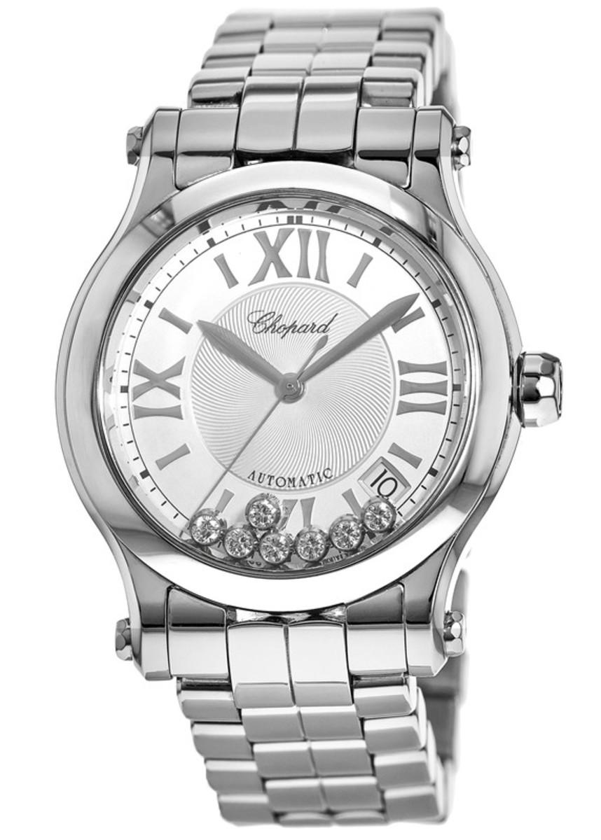 670903eba Happy Sport Medium Automatic 36mm Floating Diamond Steel Women's Watch