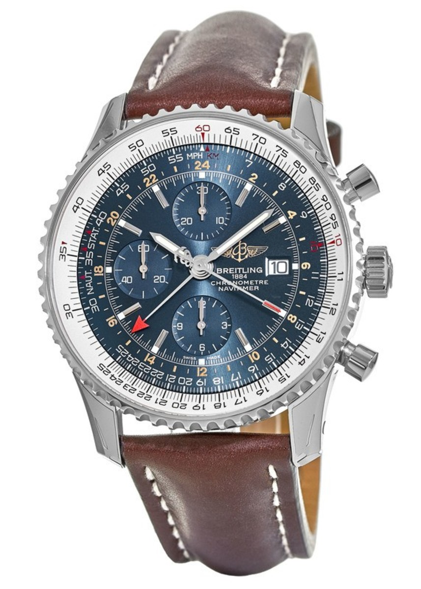 832d58f52 Navitimer 1 Chronograph GMT 46 Blue Chronograph Dial Brown Leather Strap  Men's Watch