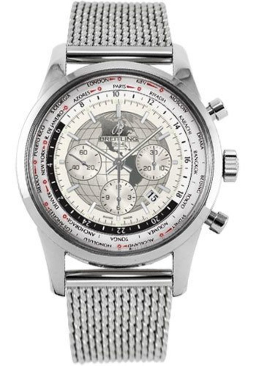 9185b877ee1 Breitling Transocean Chronograph Unitime White Dial Stainless Steel ...