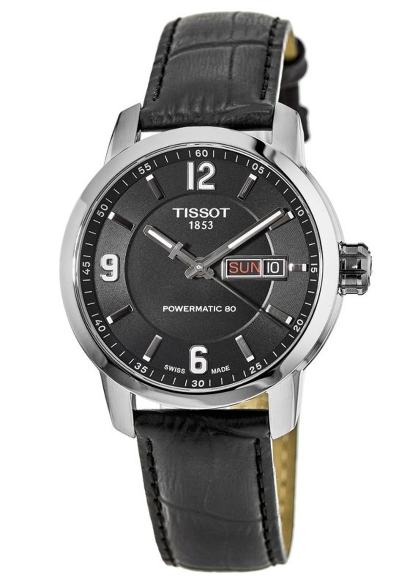 f5786cd33 Tissot PRC 200 Powermatic 80 Black Leather Strap Men's Watch T055 ...