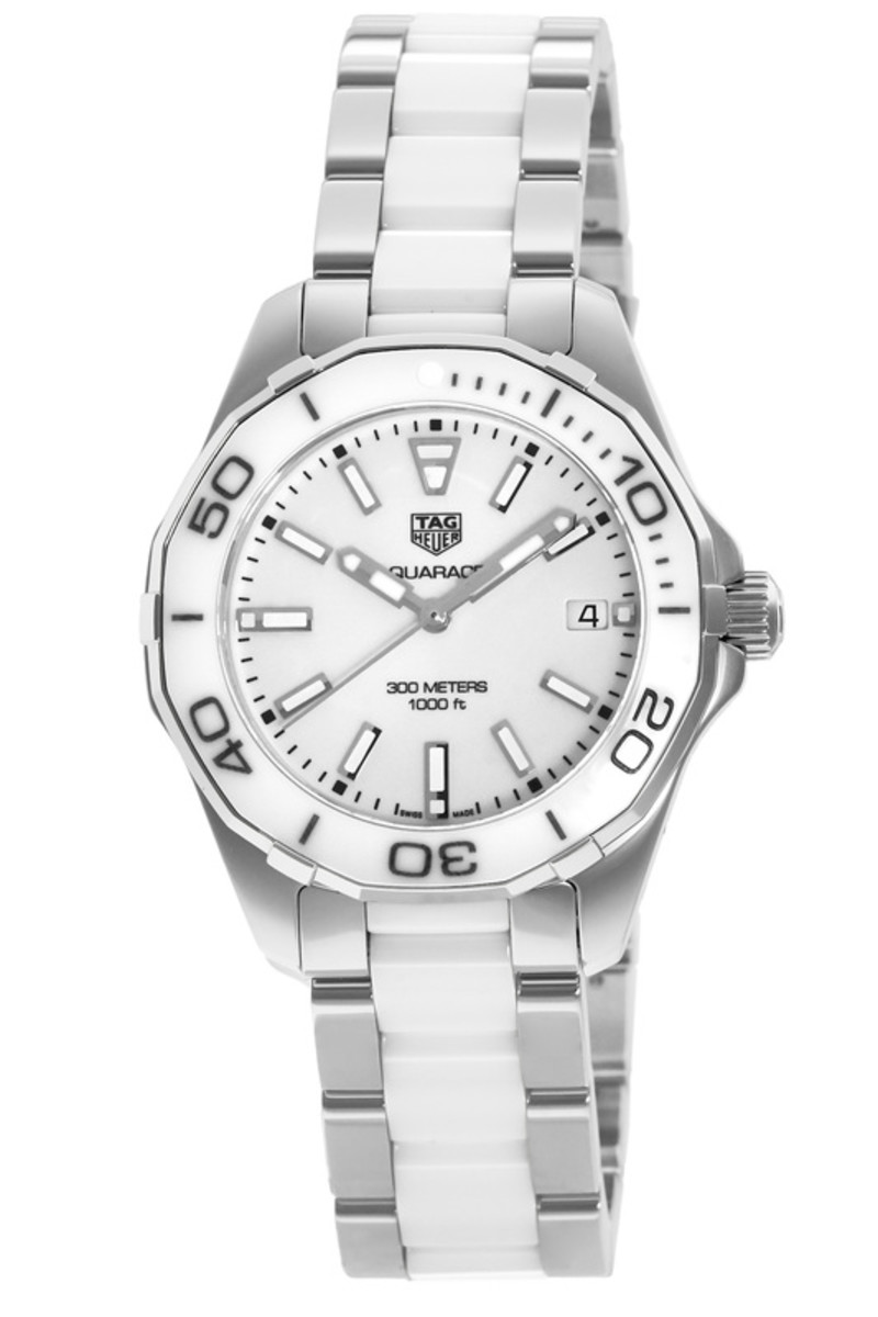 b2132934443 Aquaracer Lady 300M 35MM White Ceramic   Steel Women s Watch