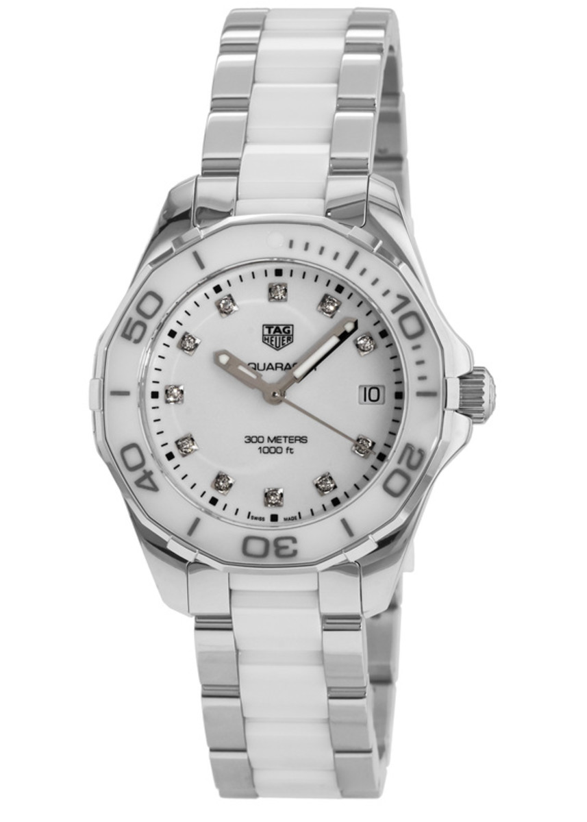 7ad70bd9faf Aquaracer Lady 300M 35MM White Ceramic   Steel Diamond Dial Women s Watch