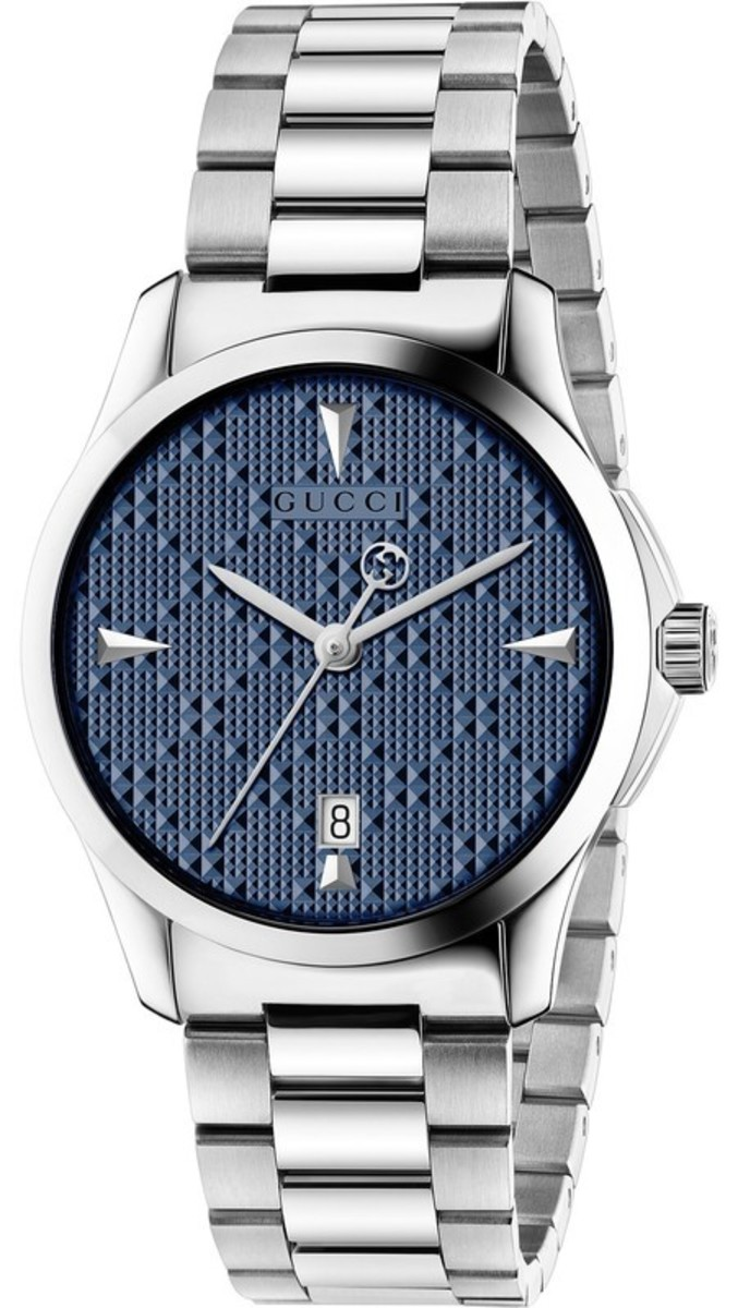 bed220a2430 G-Timeless Diamante Blue Dial Stainless Steel Unisex Watch