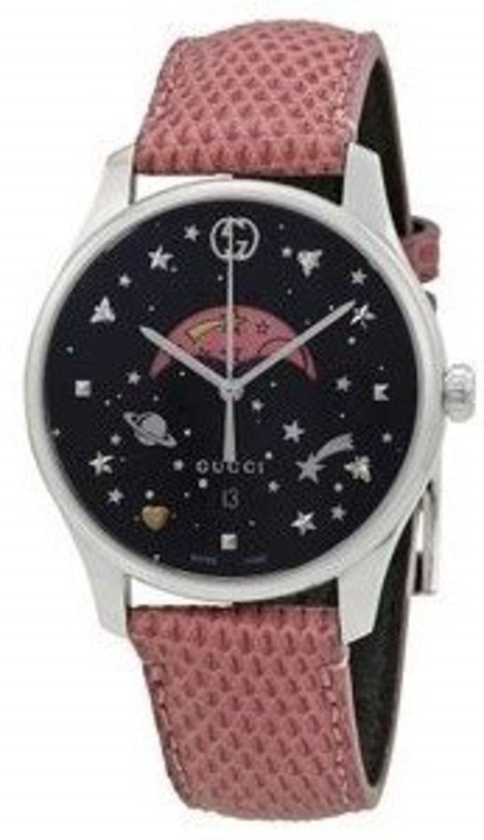 e711ec9cb5f Gucci G-Timeless Black Moonphase Dial Pink Leather Strap Women s ...
