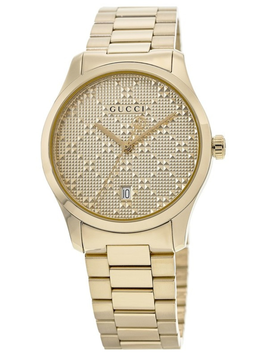 d619f1a89f2 Gucci G-Timeless Yellow Gold Diamond Pattern Dial Unisex Watch ...