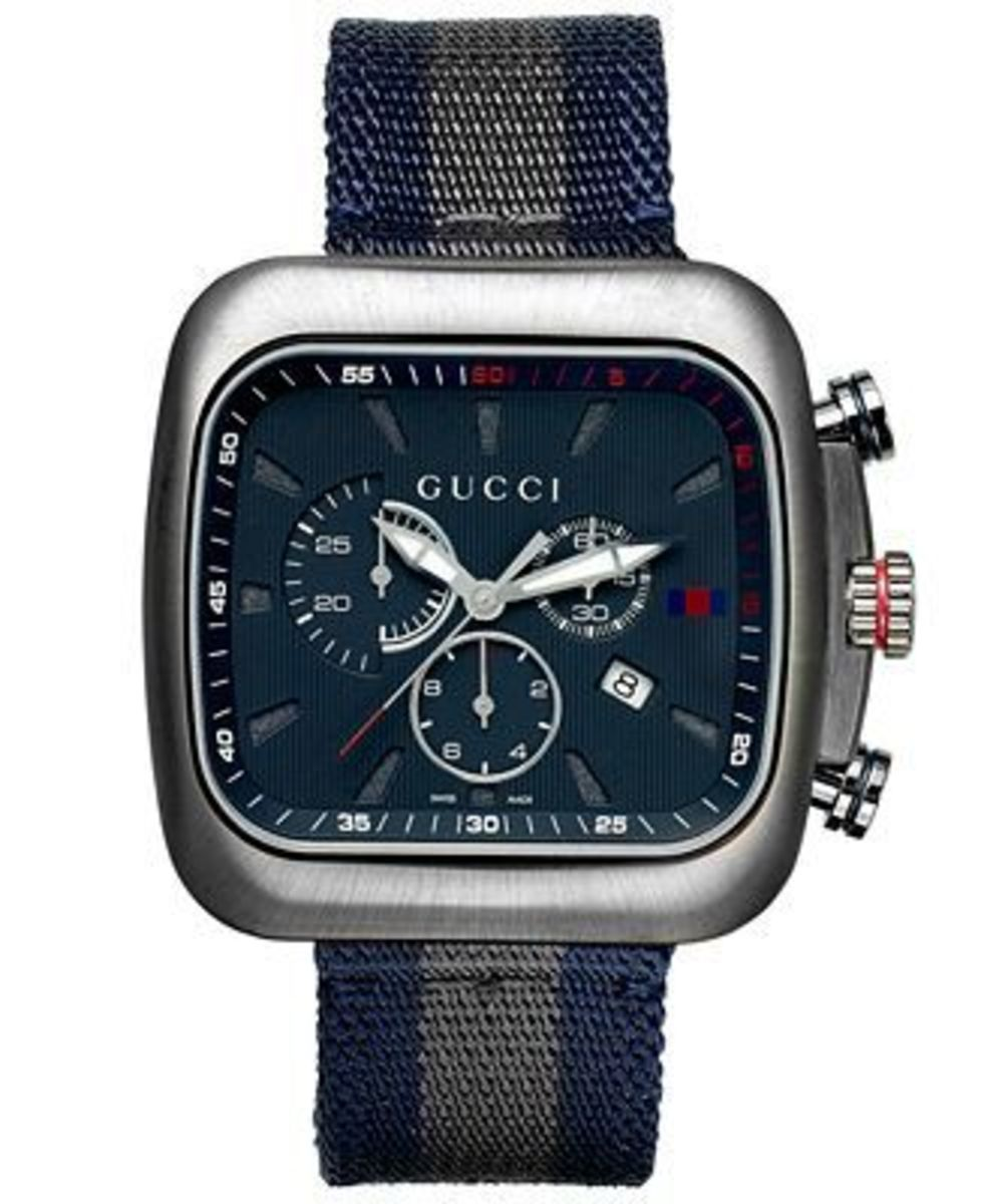 7d9615c1743 Gucci Coupe Chronograph Blue Dial Blue and Grey Fabric Men s Watch ...