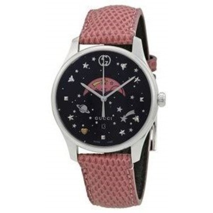 2b71bd2c3f6 Gucci G-Timeless Black Moonphase Dial Pink Leather Strap Women s ...