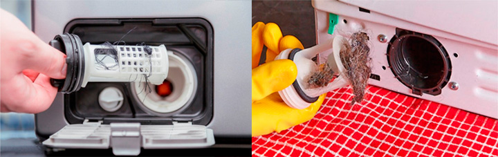 Забитый фильтр стиральной машины