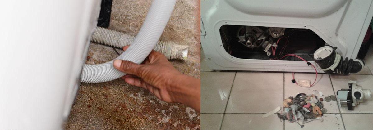 Засор в сливной шланге стиральной машины