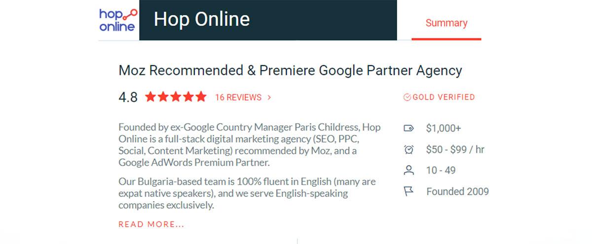 Hop Online - Moz Recommended and Premiere Google Parner Agency