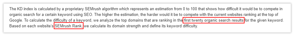 E-mail response with details about keyword difficulty by SEMRush's support.