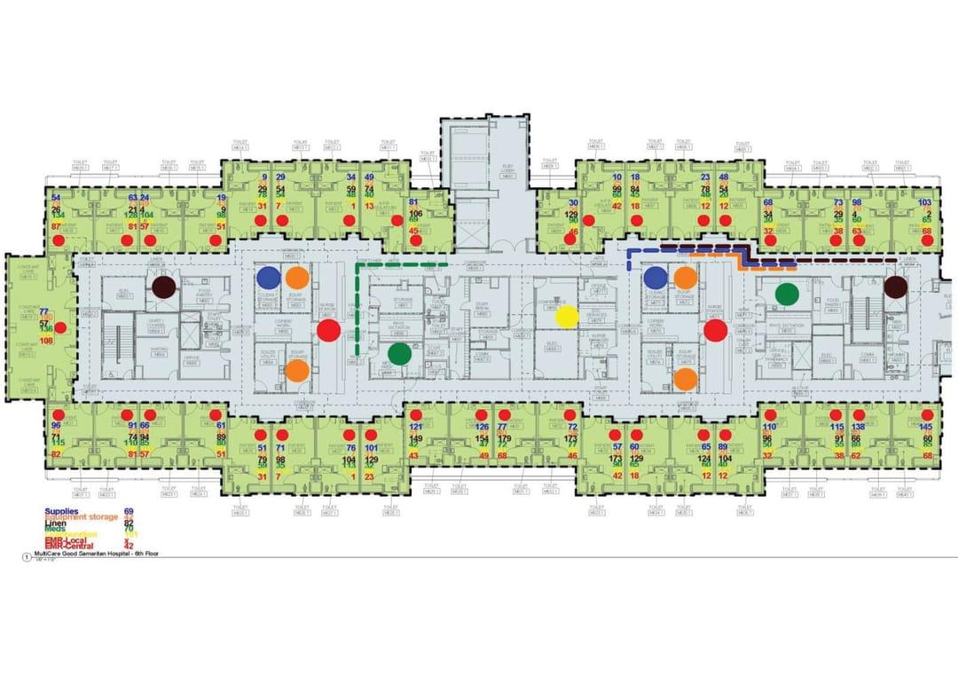 Hospital inpatient unit design factors impacting direct patient care