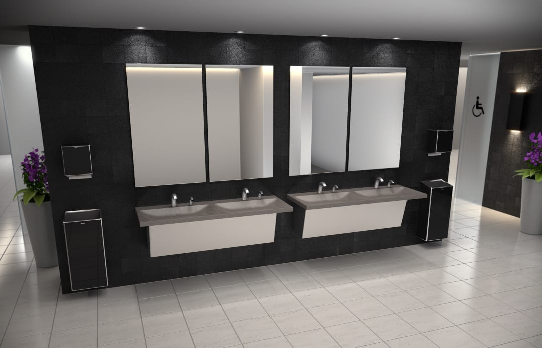 Zurn - Sundara Reef Double Basin in Alluvium, paired with the Serio Series Sensor Faucet and Soap Dispenser