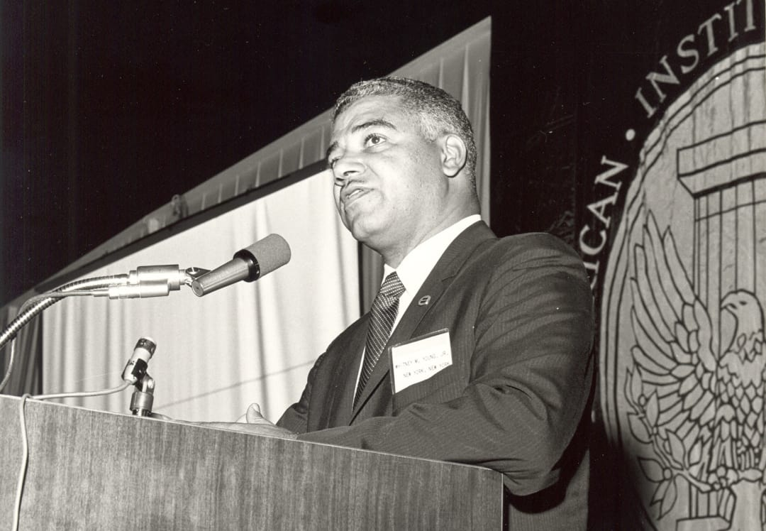 Whitney M. Young Jr addresses the crowd at the 1968 AIA national convention