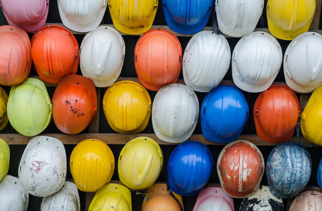 Collection of construction safety helmet