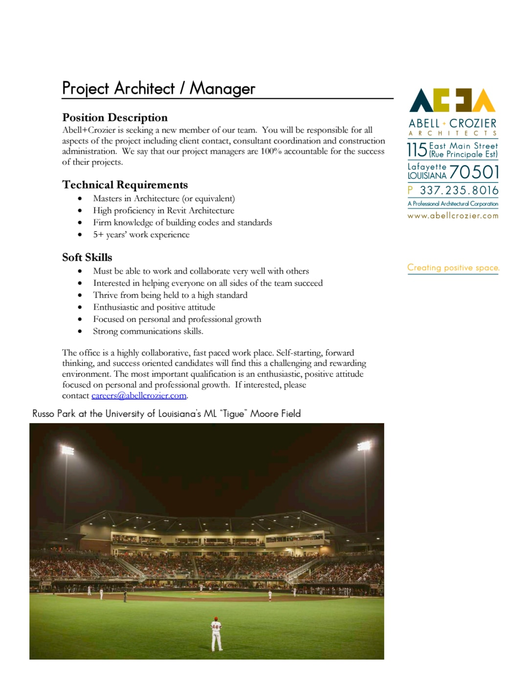 Project Architect Position Available Aia
