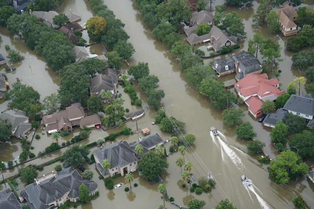 Aerial flood view