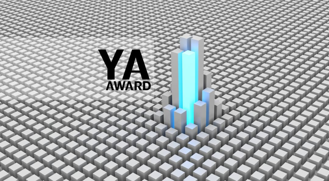 Young Architect Award graphic featuring a sea of cubic forms with distinct cube tower rising above others