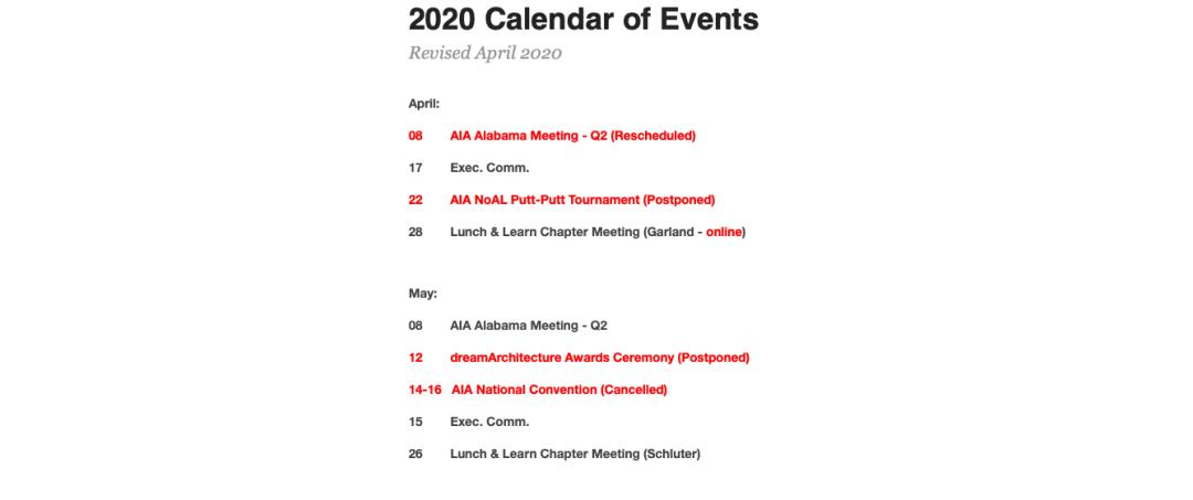 Revised Calendar April 2020