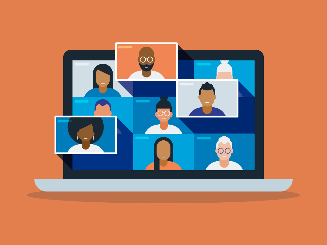 Illustration - Diverse group on a web call. BIPOC leading.