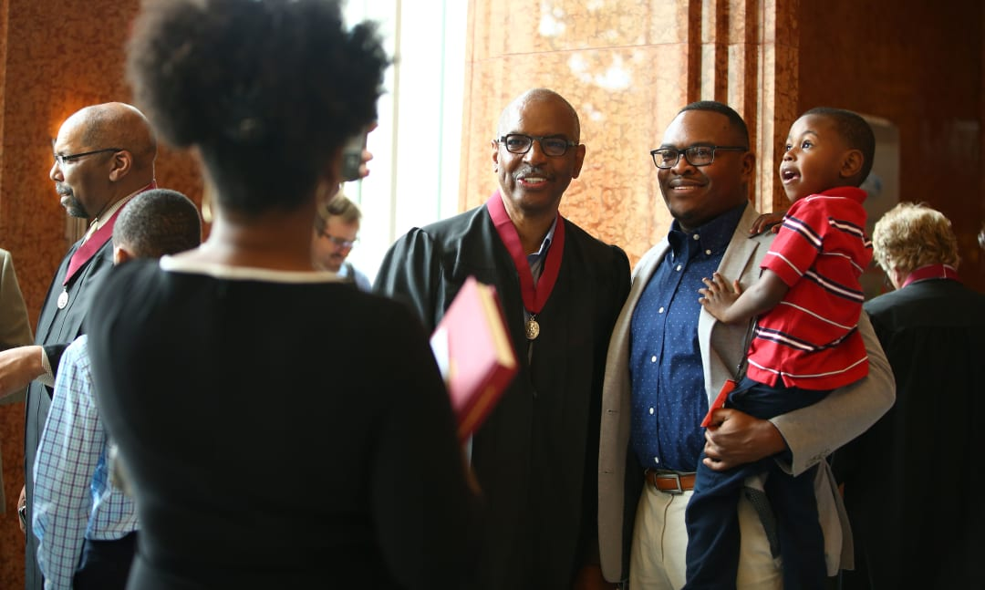 Jimmie E. Tucker, FAIA celebrates his elevation to Fellowship with his family during the 2019 College of Fellows Investiture ceremony in Las Vegas, Nevada.